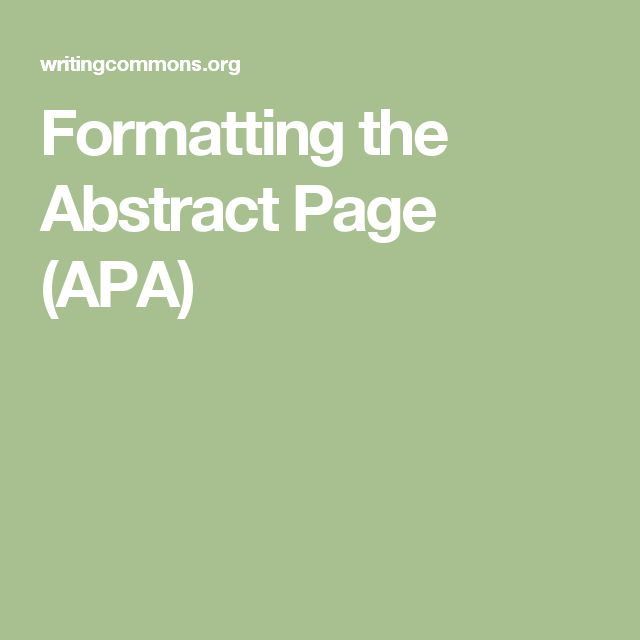 Formatting the Abstract Page (APA)