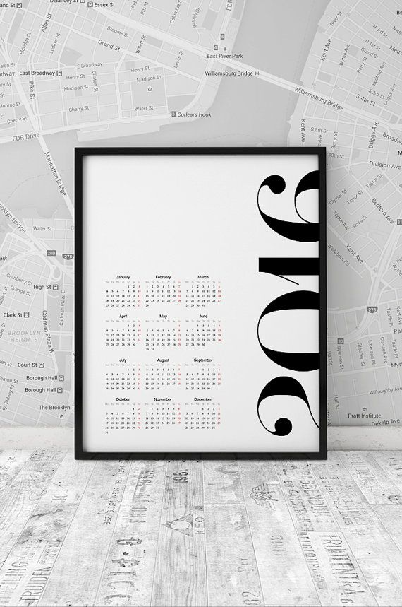 Calendar 2016 printable yearly organizer 2016 by ArtFilesVicky
