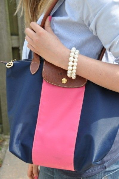 Pearls, blue, leather & pink. gorgeous combo, want the bag