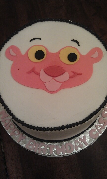 Baby Pink Panther birthday cake in buttercream with fondant decoration.