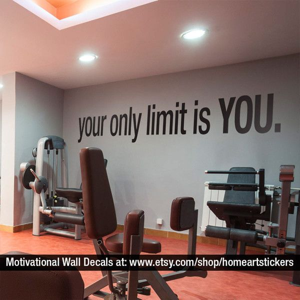 Your Only Limit Is You Quote Sports Decals Gym Wall Decal Workout... ($43) ❤ liked on Polyvore featuring home, home decor, wall art, random, grey, home & living, home décor, wall decals & murals, wall décor and window wall decal