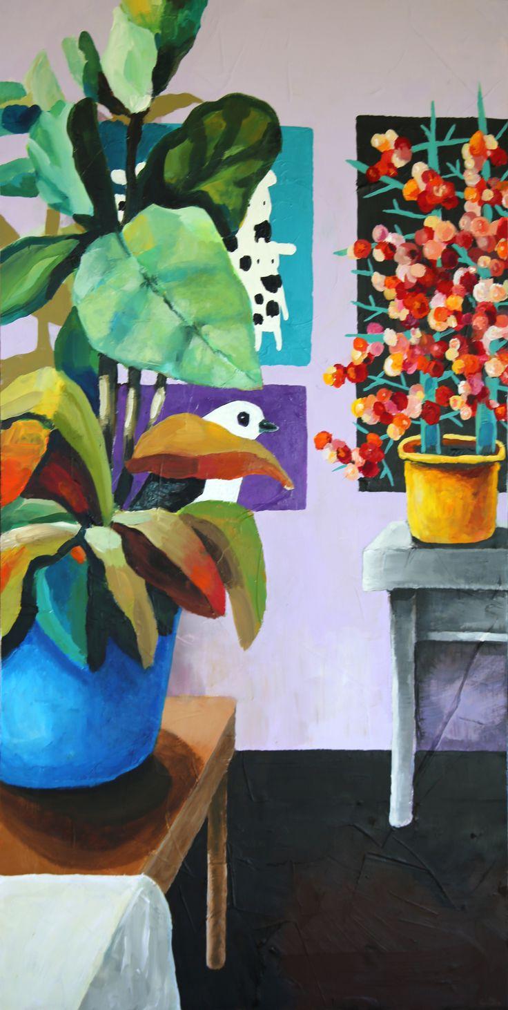 «Interiør med ku og fugl». Gouache-akryl på MDF. 60x120 cm