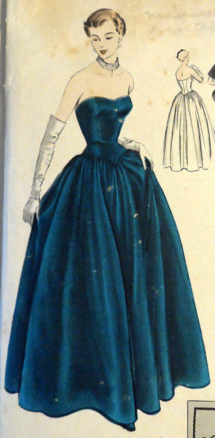 Vtg 50s Vogue Special Design pattern S-4048 Strapless Formal Evening Gown Capelet Size 16 Bust 34 | eBay