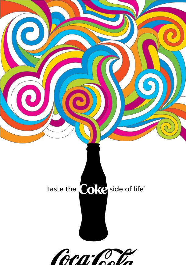 Milton Glaser. Gives you a pure a imagination of how the coca-cola drink fills you up with happiness. The flowing swirls that comes out of the bottle bring out the rainbow cheerfulness.