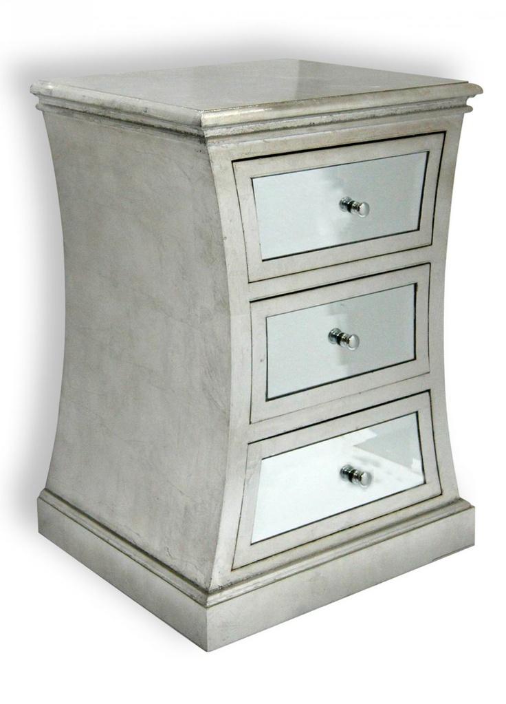 Silver mirror nightstand 3 drawer headboards for Mirror nightstand