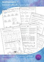 Dieses Material umfasst 8 verschiedene Übungsblätter mit märchenhaften Zeichnungen für die Klasse 1.  Es geht um Zahlen zerlegen, Zahlenfolgen, gerade und ungerade Zahlen, rechnen am Zahlenstrahl, Plus- Minus und Umkehraufgaben am Zahlenstrahl und Rechenmauern.