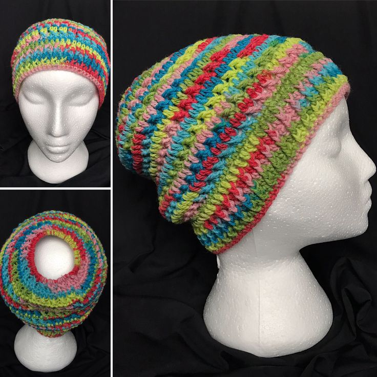 Messy Bun Hat made of sock weight yarn