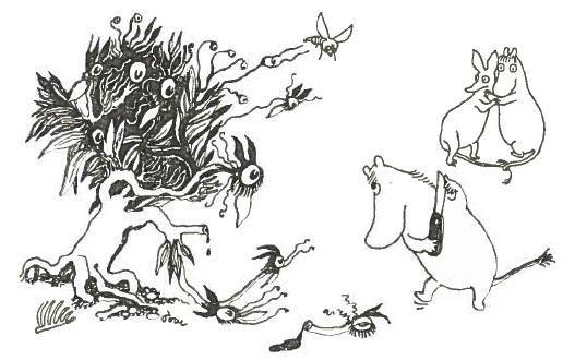 """""""-Haa, katala pensas! Muumipeikko huusi ja heilutti kynäveistään (uutta veistään missä oli korkkiruuvi ja kynsiviila). Hän teki kiertoliikkeitä ja yritti ärsyttää pensasta herjauksilla sanomalla sitä ryömijäksi, tiskiharjaksi ja rotanhäntärutoksi."""" Muumipeikko ja pyrstötähti"""