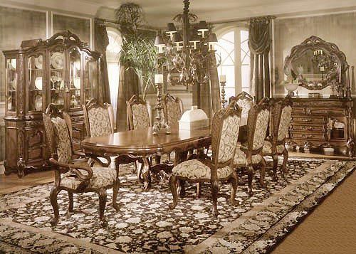 Medieval Formal Dining Room Tables Sets With Chandelier