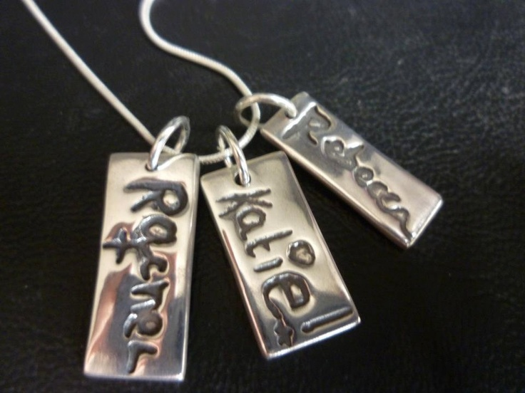 Child name (handwritten) charm: Charms Necklaces, Signature Charms, Names, Silver, Children, Charm Necklaces