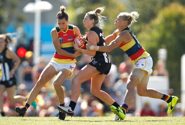 Erin Phillips Photos Photos - (L-R) Chelsea Randall of the Crows, Amelia Barden of the Magpies and Erin Phillips of the Crows compete for the ball during the 2017 AFLW Round 07 match between the Collingwood Magpies and the Adelaide Crows at Olympic Park Oval on March 19, 2017 in Melbourne, Australia. - AFL Women's Rd 7 - Melbourne v Fremantle