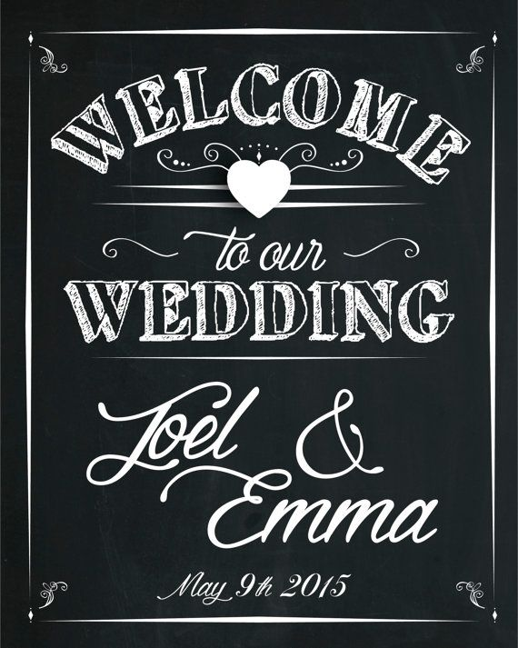 Welcome to Our Wedding Chalkboard Poster Print by AmyGemptonDesign