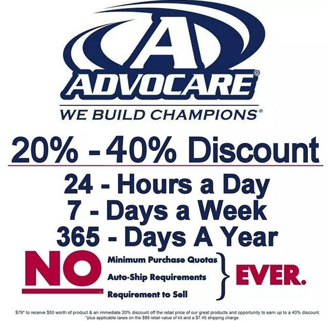 Join advocare today and receive $50 of free product when you sign up as a distributor and save 20% instantly. Work your way to save 40% off, while earning extra income!