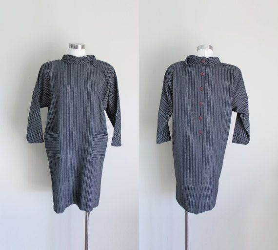 1980s Minimalist Black Striped Button Back Tent by missheyday