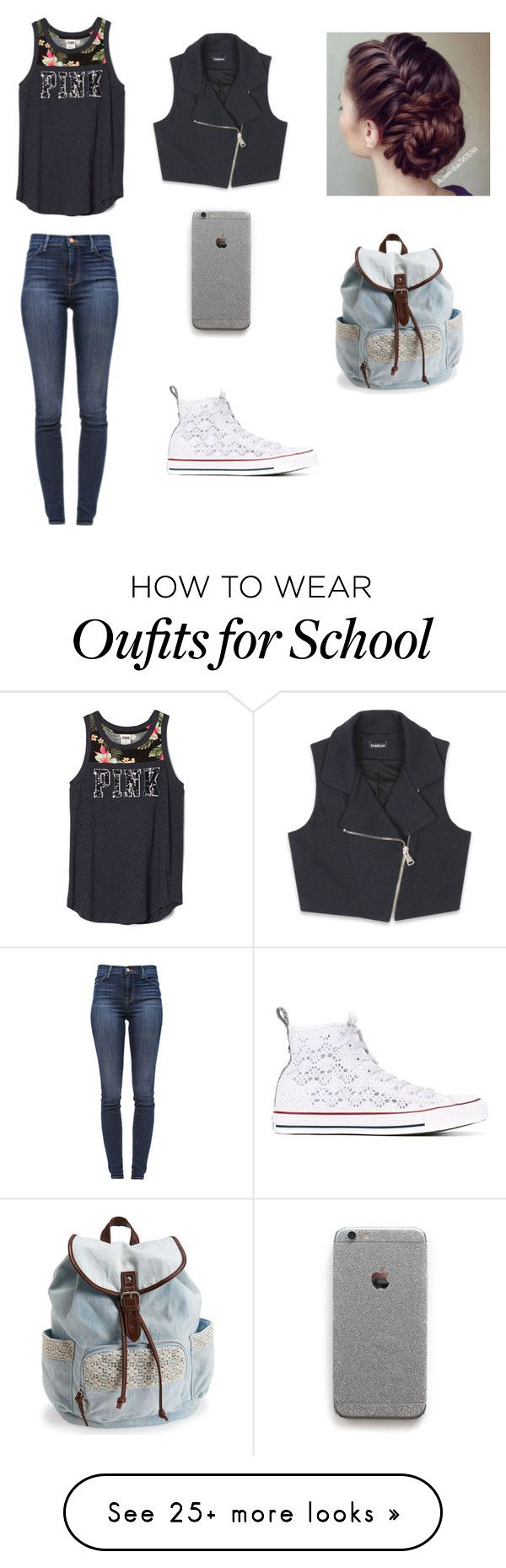 """school"" by onfleekyo on Polyvore featuring J Brand, Converse, Aéropostale and Bebe"