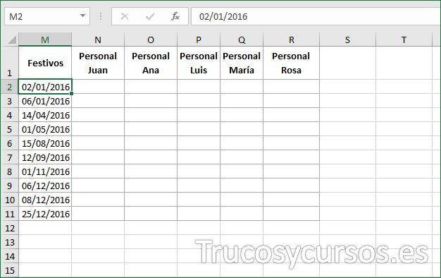 Control De Vacaciones Para Los Trabajadores En Excel Plantillas Excel Control Trabajador