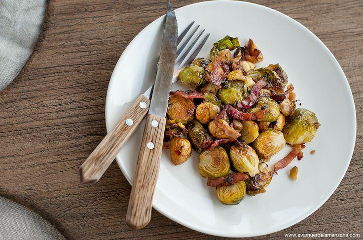 Receta: Coles de Bruselas asadas con Bacon y Castañas