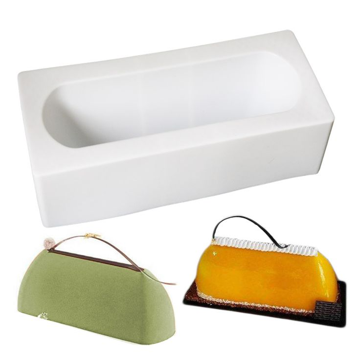 Big Size Bag Shape Long Box Cake Mousse Mold Safe To Use In The Oven, Refrigerator, Freezer, Microwave, Steamer And Dishwasher