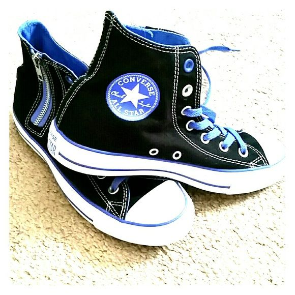 High top Chuck Taylor Converse with side zipper! Brand new all star high tops, bright and fun black white and cobalt blue Chucks with side zipper! Converse Shoes Sneakers