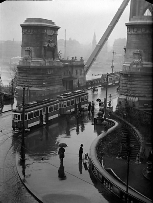 The buda-side bridgehead of elizabeth bridge with trams 1940 Budapest, Hungary