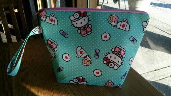 Knitting Project Bag  Hello Kitty Medical by thingsbylengleng