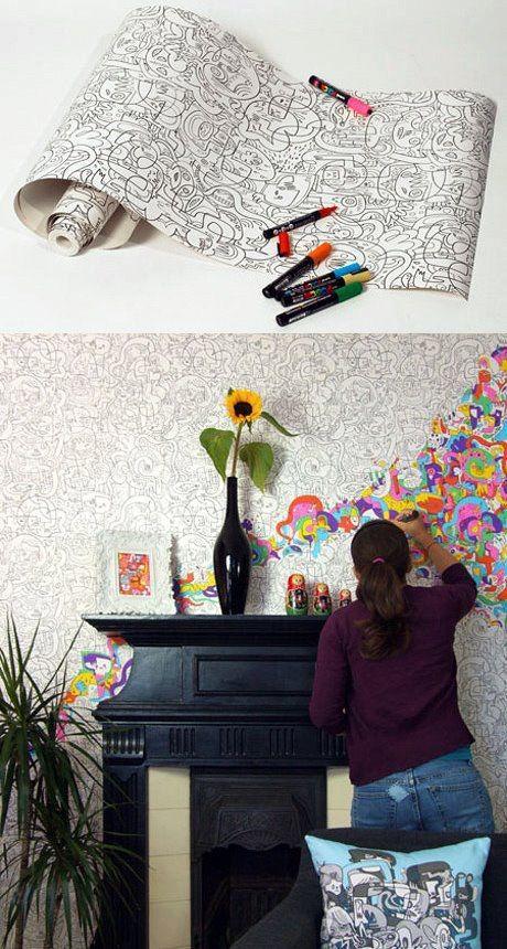 Carta da Parati. Su Creative Room segnaliamo questa fantastica carta da parati tutta da colorare con i pennarelli per dare libero sfogo alla propria fantasia.