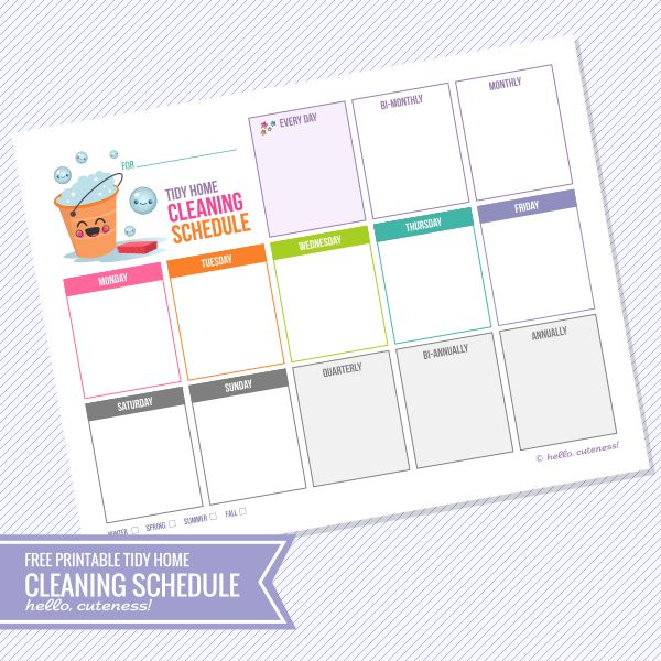 {Free Printable} Tidy Home Cleaning Schedule