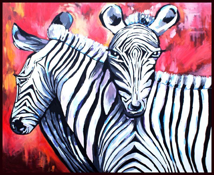 Obraz na płótnie - dwie żyrafy - akryl