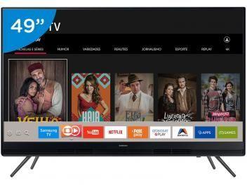 """Smart TV LED 49"""" Samsung Full HD  Conversor Digital 2 HDMI 1 USB Wi-Fi - Com as melhores condições você encontra no Magazine Shopspremium. Confira!"""
