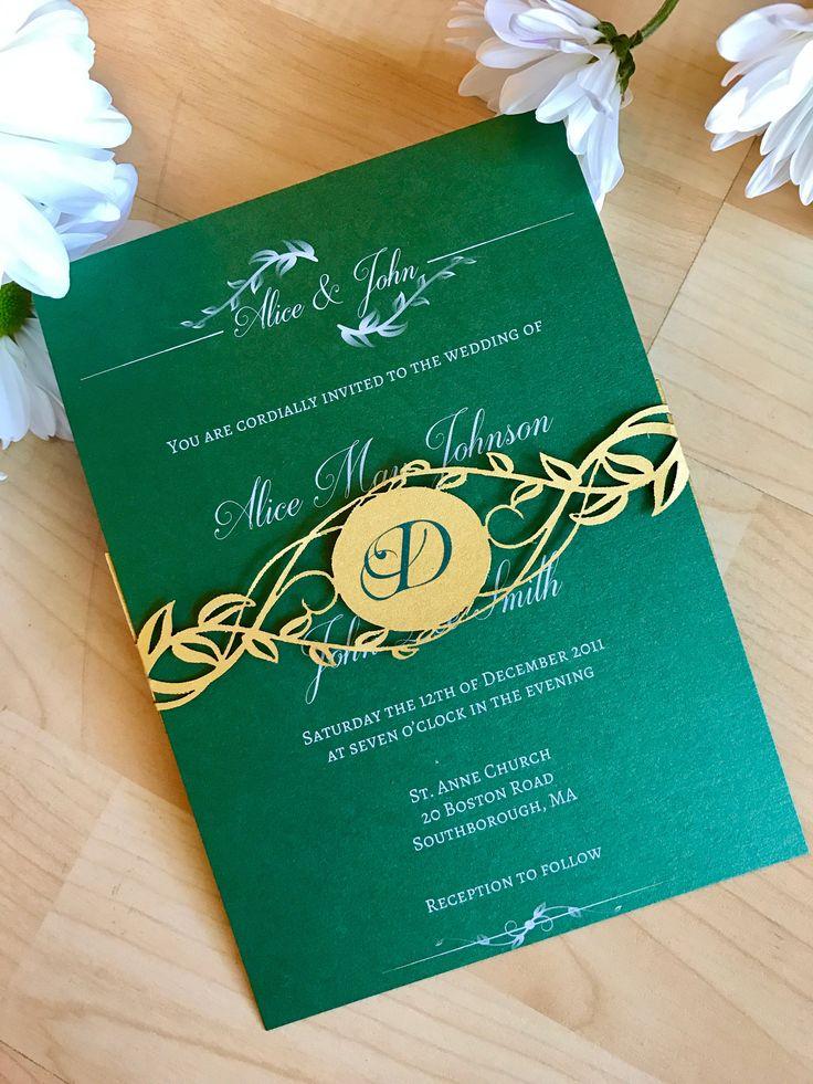 Greenery laser cut belly band wedding invitation