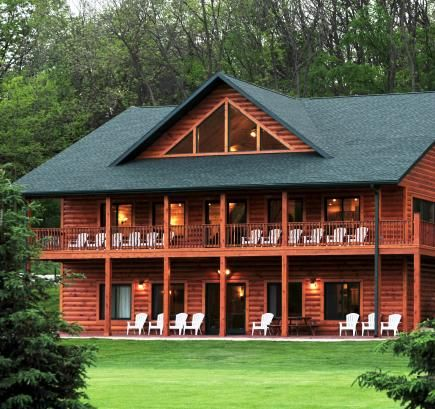 The spacious grassy areas and large cabins (accommodating up to 40 people; pictured) at Cedar Valley Resort in Lansboro, Minnesota make this the perfect locale for your next family reunion. Bike to the charming town of Lanesboro along the popular Root River State Trail or go trout fishing and tubing on the water.