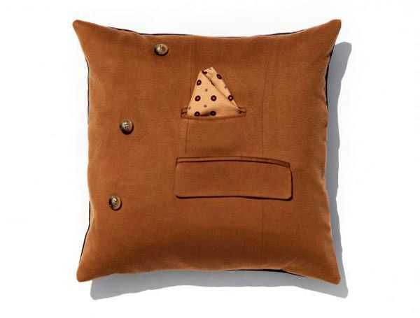 leather pillow with pocket  - Recycling Leather jacket
