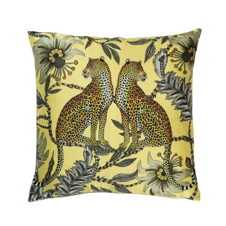 Lovebird Leopard 100% silk cushion in Butter