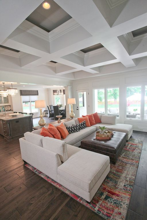 Transitional Living Room with Box ceiling, Pottery Barn Build Your Own - Comfort Square-Arm Sectional, Hardwood floors