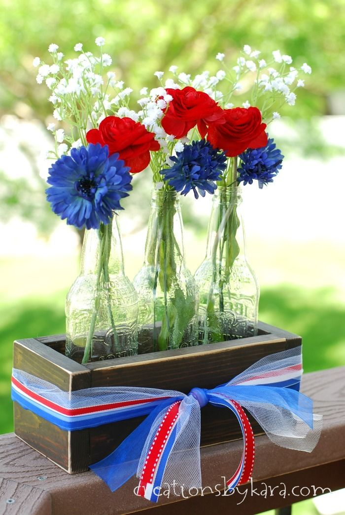 Rustic Crate with Bottle Vases Centerpiece + 50 Festive Memorial Day BBQ Ideas...creative ways to kick-off summer and celebrate our freedom while remembering our fallen heroes!
