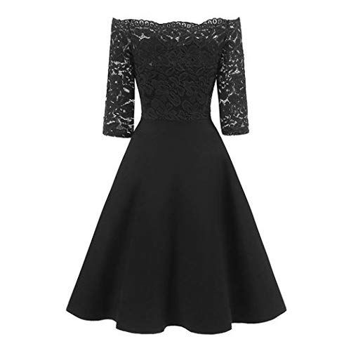 Pinesong Damen Vintage Spitze Patchwork Schulterfrei Cocktail Party Retro Swing Kleid 3 4 Armel Off Schulter Spitzenkleider Party Kleider Elegantes Outfit Frau