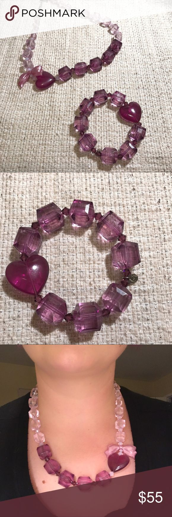Tarina Tarantino purple lucite set Necklace and bracelet set from TT- chunky lucite beads with girly bow and heart detail. Super fabulous 💜💜💜💜 Tarina Tarantino Jewelry Necklaces