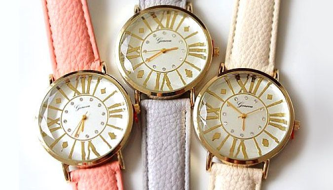 Simulated Crystal Pastel Watch - 3 Colours Get some glam on your wrists with the Simulated Crystal Pastel Watch      The face is made of stainless steel and is 38mm wide      Features include mini simulated crystals and Roman numerals       Strap is approximately 23cm long      Great for everyday use      Available in 3 colours: pink, grey and white      Save 72% on this Simulated Crystal Pastel Watch for just 7.99 pound instead of 28.99 pound      BUY NOW for just GBP7.99