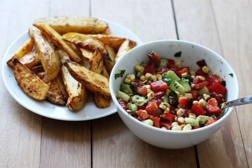 Roasted potatoes with salsa salad (red bell pepper, tomatoes, fresh parsley, corn, cucumber, avocado)
