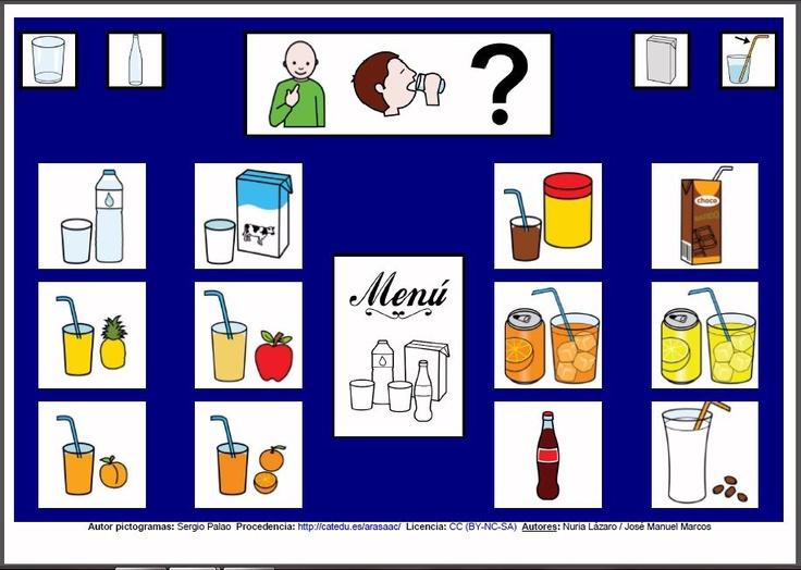 MATERIALES - Tableros de Comunicación de 12 casillas.    Tablero de comunicación de doce casillas sobre alimentos: bebidas.    http://arasaac.org/materiales.php?id_material=224