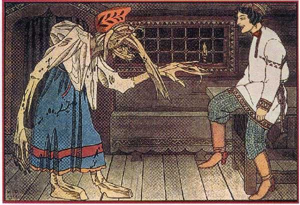 """Baba Yaga by Ivan Bilibin 1911 - He entered and found Baba Yaga the Bony-legged. """"Fie, fie,"""" she said, """"the Russian smell was never heard of nor caught sight of here, but it has come by itself. Are you here of your own free will or by compulsion, my good youth?"""" """"Largely of my own free will, and twice as much by compulsion! Do you know, Baba Yaga, where lies the thrice tenth kingdom?"""" """"No, I do not,"""" she said, and told him to go to her second sister; she might know...."""