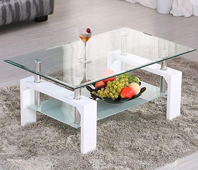 Eight24hours White Rectangular Glass Coffee Table Shelf Chrome