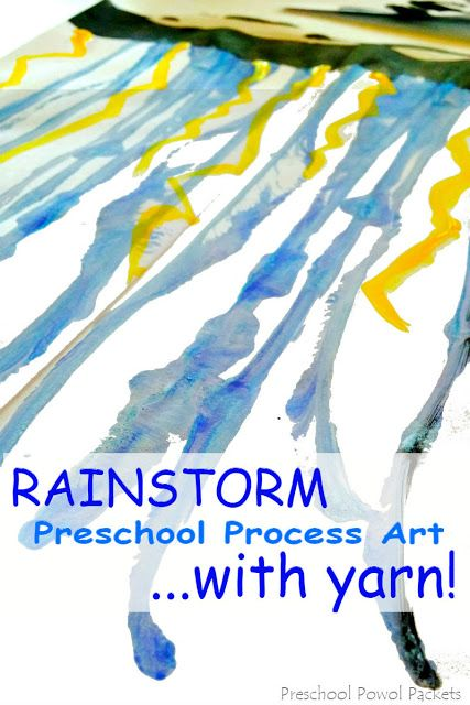 Rainstorm Yarn Painting Preschool Process Art
