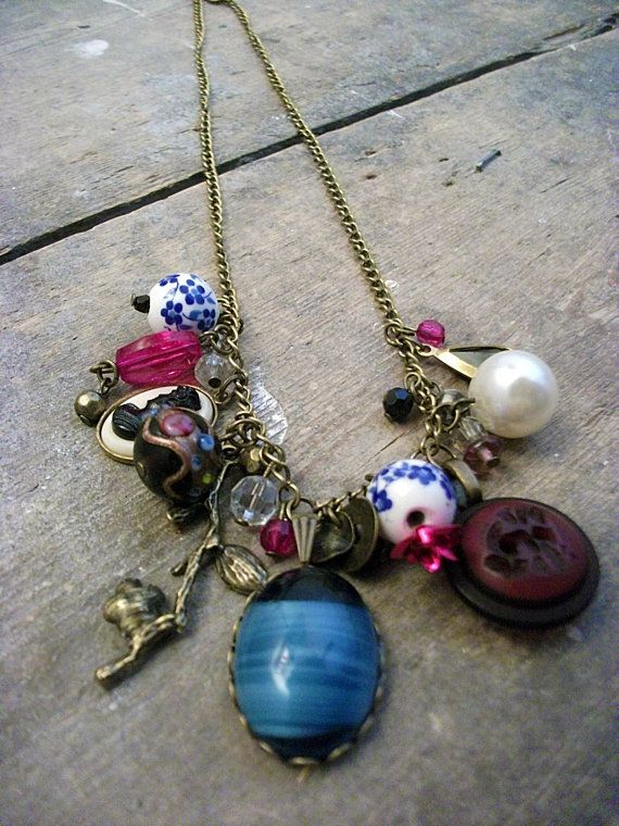Purple & Blue Cameo Pendant Charm necklace by VioletJewelleryCo