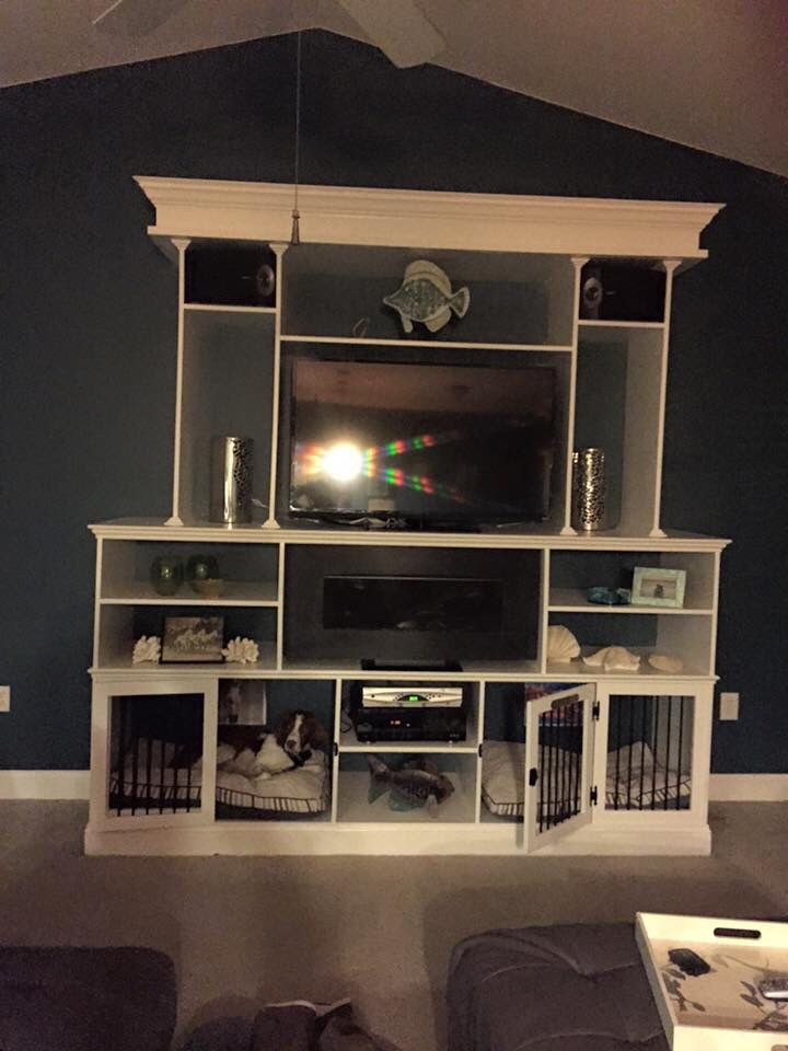 Entertainment Center with built in dog crates
