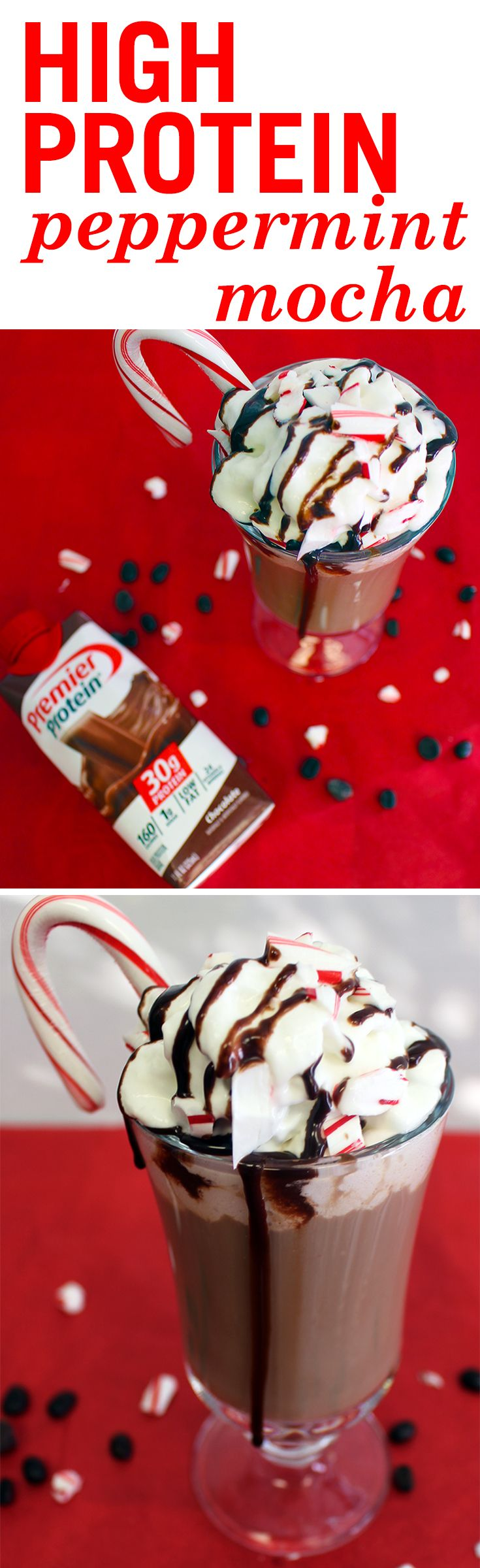 Let the comfort of crisp peppermint and chocolatey mocha flavors warm you up during this cold winter season. Ingredients:  1 Premier Protein Chocolate Shake  3 tsp sugar free chocolate syrup or topping  1 serving instant coffee  1/2 tsp peppermint extract, more or less to taste   Pour shake & syrup into a large mug, microwave for approx. 45 seconds. Add peppermint and coffee, and enjoy!