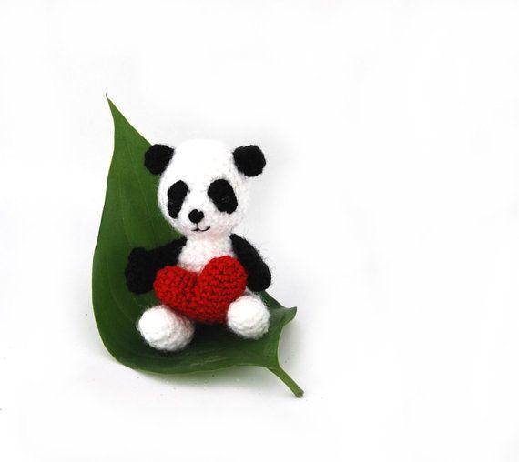 $33.68 crochet PANDA bear, amigurumi tiny panda, white black small animal, miniature #panda, #cute little doll, plushie panda, crochet toy, gift for kids