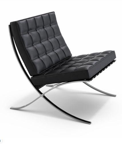 Mobiliário Moderno.   Cadeira Barcelona de Ludwig Mies van der Rohe. *Linhas curvas.  *Utilização de materiais como: cromo e aço; couro. *Estrutura Tubulares Metálicas. *Formas geométricas simples. *Uso da cor preta.
