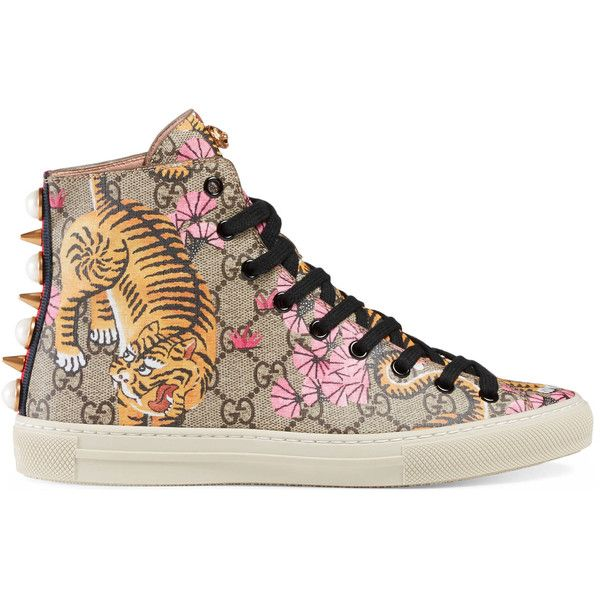 Gucci Gucci Bengal High-Top Sneaker ($595) ❤ liked on Polyvore featuring shoes, sneakers, gucci, women, gucci sneakers, gucci trainers, high top trainers, hi tops and low sneakers
