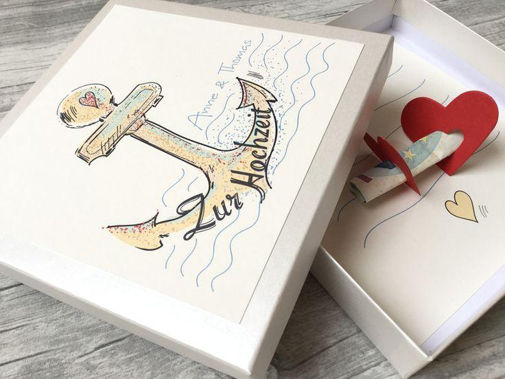 Geldgeschenke - Geldgeschenk zur Hochzeit - Anker - ein Designerstück von Kunstundtext bei DaWanda